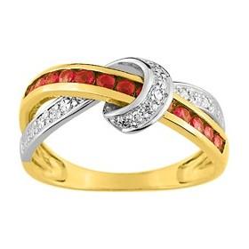 Bague, rubis et diamants, or bicolore.