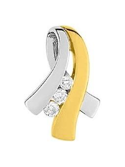 Pendentif, diamants, or bicolore.