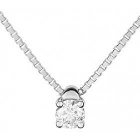 Collier solitaire, diamants, or blanc.
