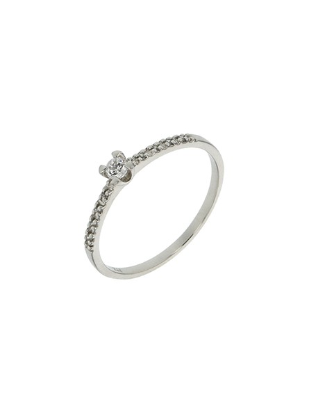 Solitaire accompagné diamants 0,10 ct or blanc 750