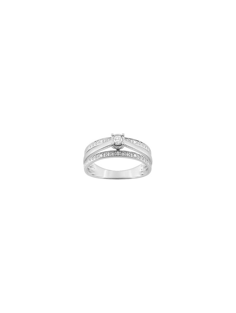 Solitaire accompagné fantaisie diamants 0.10 ct