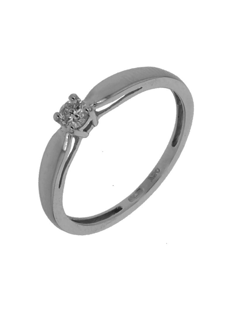 Solitaire diamant 0,14 ct 4 griffes or blanc 750