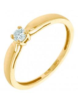 Solitaire diamant 0,14 ct 4 griffes or jaune 750