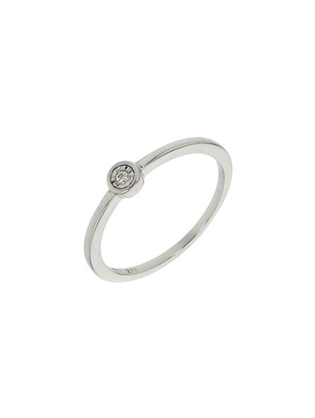 Solitaire diamant 0,02 ct clos or blanc 375
